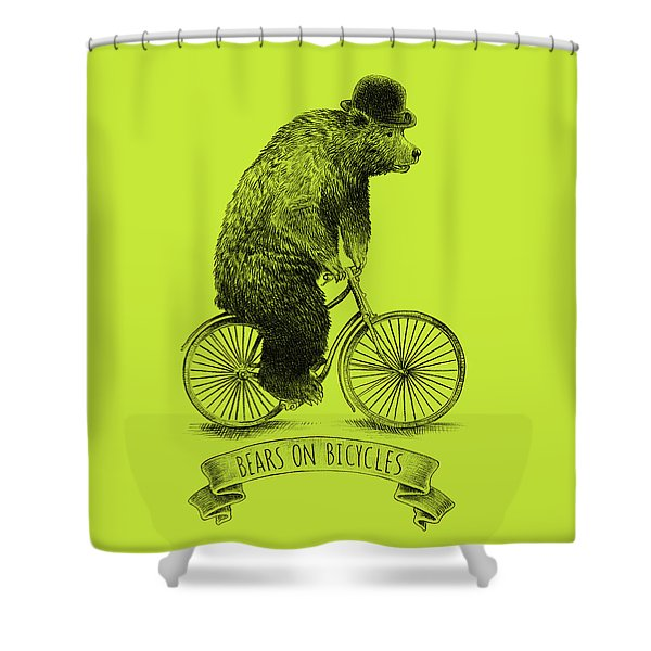 Bears On Bicycles - Lime Shower Curtain