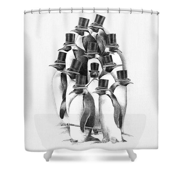 Penguin Party Shower Curtain
