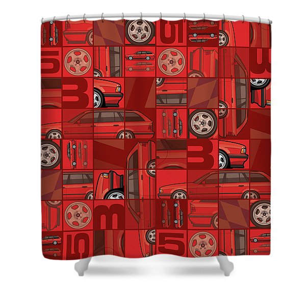 Brilliant Red Bavarian E34fuenfer Wagon Kombi Shower Curtain