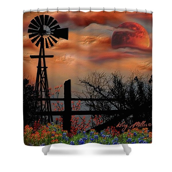 Windmill And Orange Moon Shower Curtain