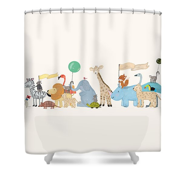 Little Safari Parade Shower Curtain by Bri Buckley