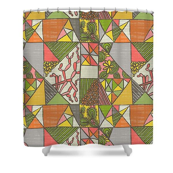 Geometric Flowering Cacti Shower Curtain
