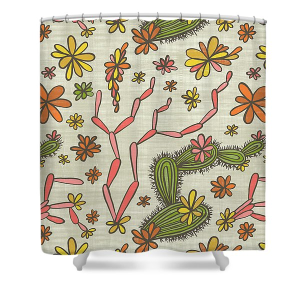 Flowering Cacti Elements Shower Curtain