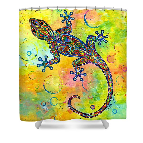 Electric Gecko Shower Curtain