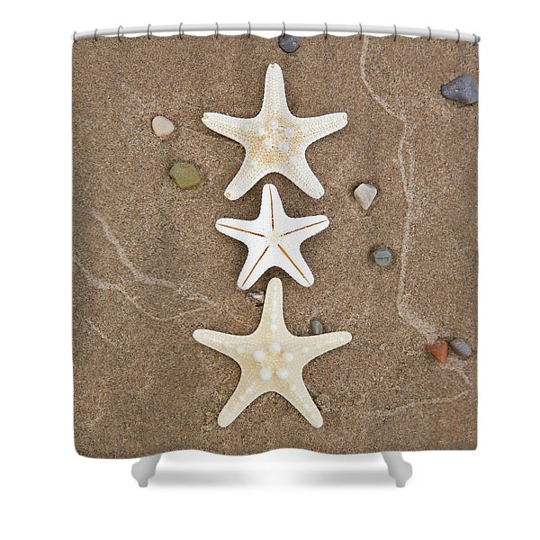 Shower Curtain featuring the photograph Starfish In The Sand by Emily Johnson