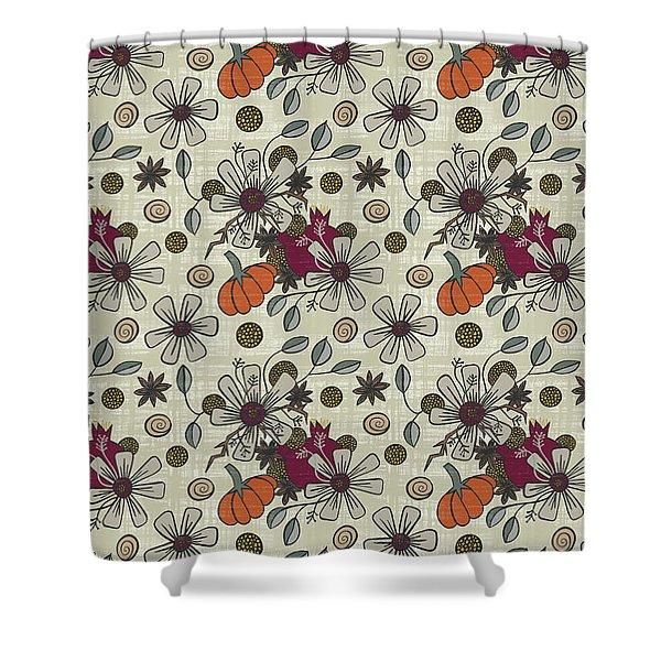Fall Pumpkin Botanical Pattern Cream Background Shower Curtain