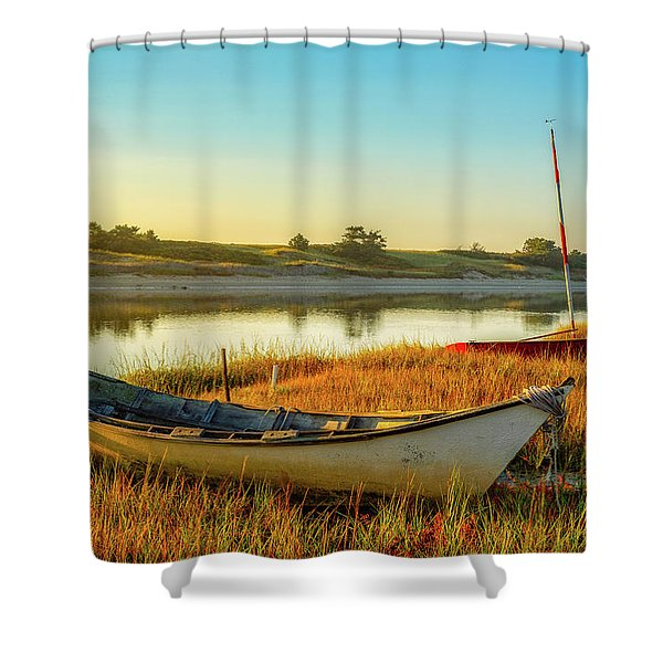 Shower Curtain featuring the photograph Boats In The Marsh Grass, Ogunquit River by Jeff Sinon