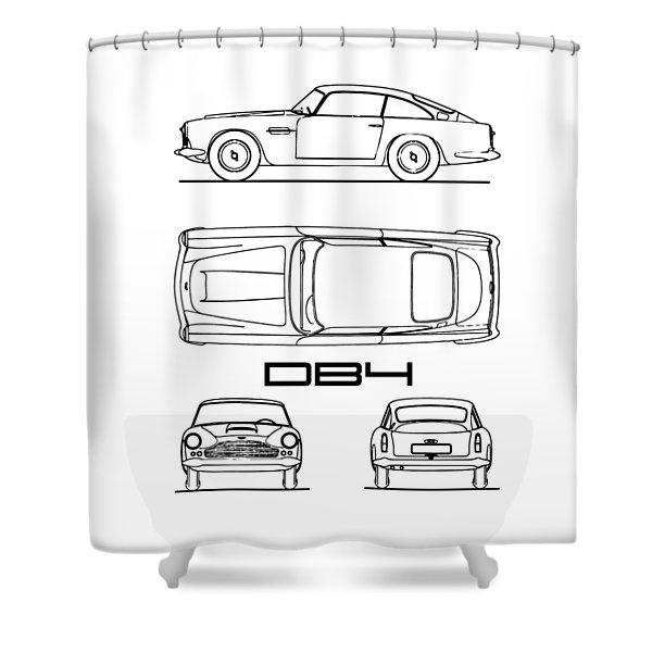 Aston Martin Db4 Blueprint Shower Curtain