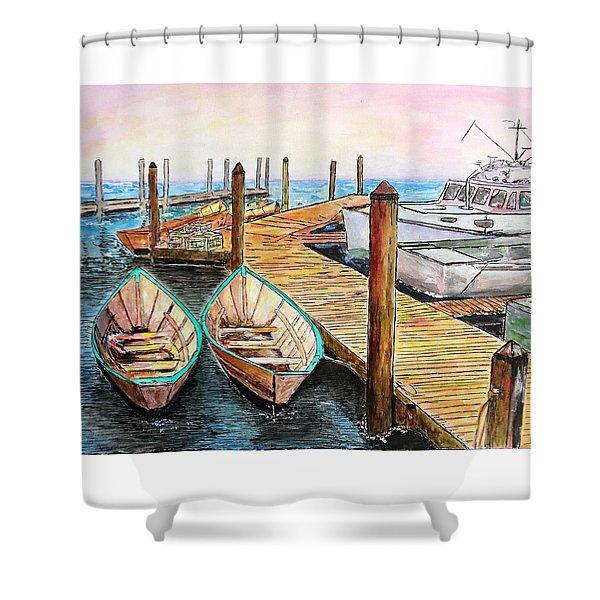 At The Dock In Gloucester Massachusetts Shower Curtain