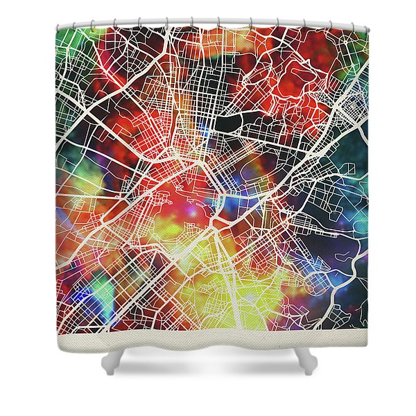 Athens Greece Watercolor City Street Map Shower Curtain