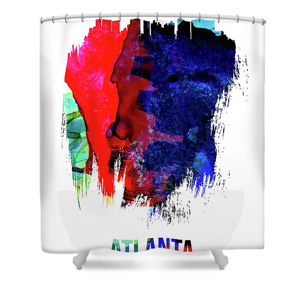 Atlanta Skyline Brush Stroke Watercolor   Shower Curtain