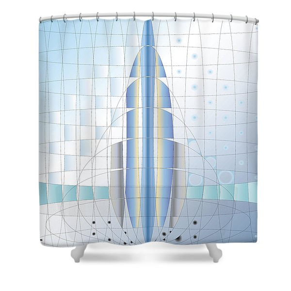 Atomic Rocket Shower Curtain