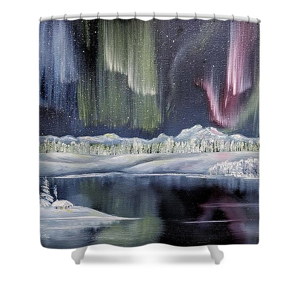 Shower Curtain featuring the painting Aurora Borealis by Deleas Kilgore