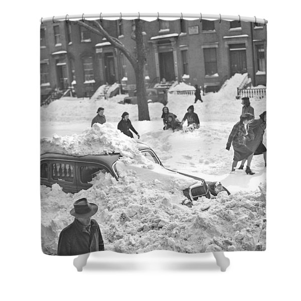 Auto Buried In Snow  Ca  1939 Shower Curtain