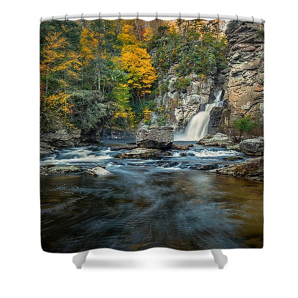 Autumn At Linville Falls - Linville Gorge Blue Ridge Parkway Shower Curtain