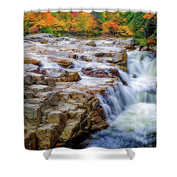 Shower Curtain featuring the photograph Autumn Color At Rocky Gorge by Jeff Sinon