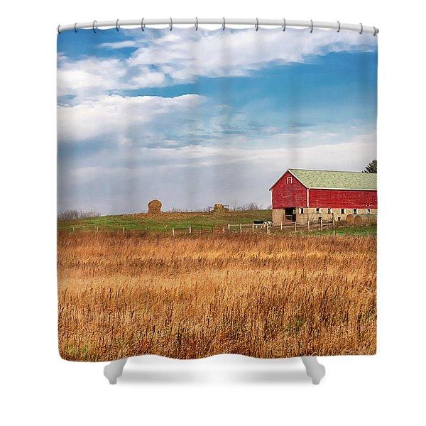 Autumn Dairy Barn Shower Curtain