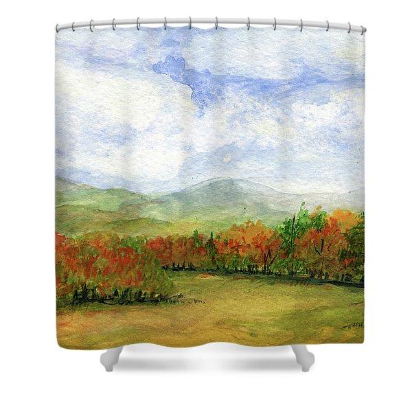 Autumn Day Watercolor Vermont Landscape Shower Curtain