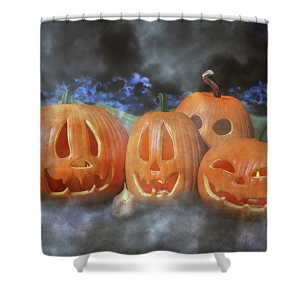 Autumn Halloween Pumpkin Evening Shower Curtain