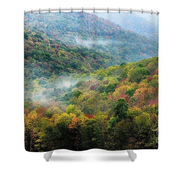 Autumn Hillsides With Mist Shower Curtain