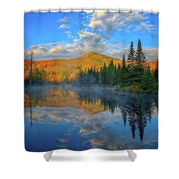 Shower Curtain featuring the photograph Autumn Sky, Mountain Pond by Jeff Sinon
