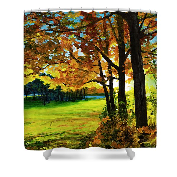 Sunset Over The Park Shower Curtain