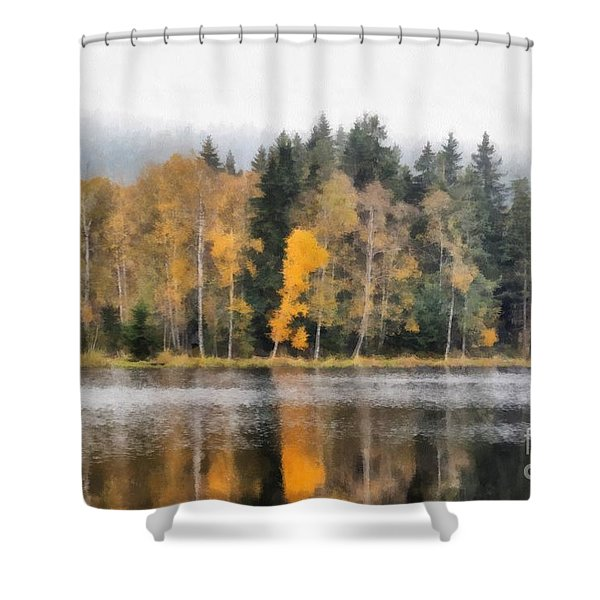 Autumn Trees On The Bank Of Lake Shower Curtain