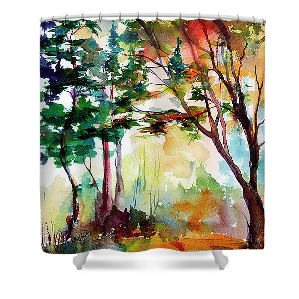 Autumn Trees Watercolors Shower Curtain