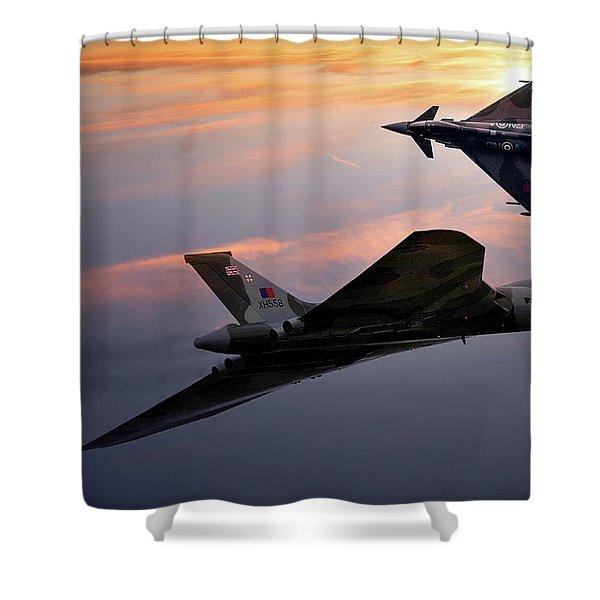 Avro Vulcan Xh558 And Eurofighter Typhoon Gina. Shower Curtain