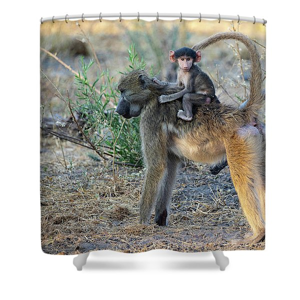 Baboon And Baby Shower Curtain