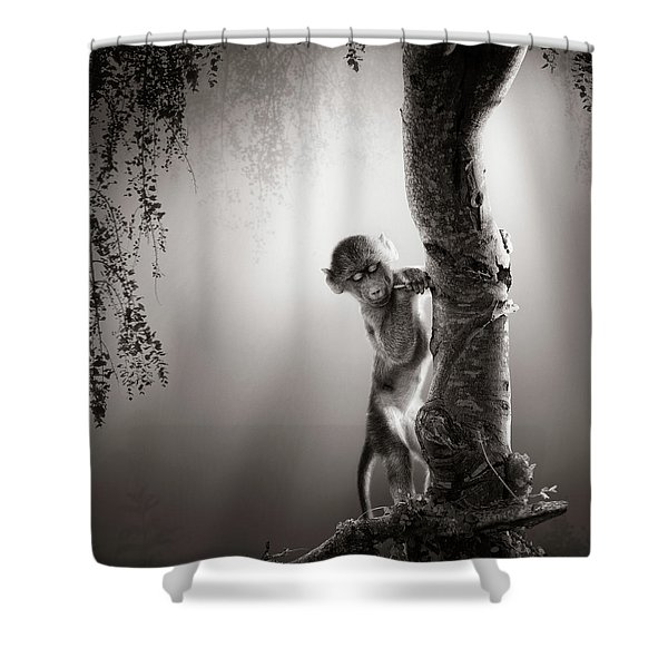 Baby Baboon Shower Curtain