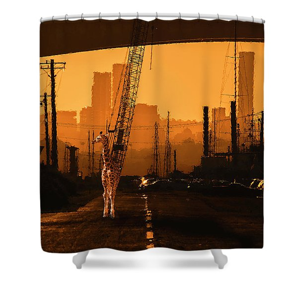 Shower Curtain featuring the photograph Baby Giraffe In The Urban Jungle. by Rob D Imagery