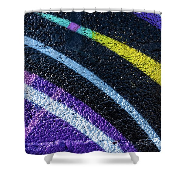 Background With Wall Texture Painted With Colorful Lines. Shower Curtain