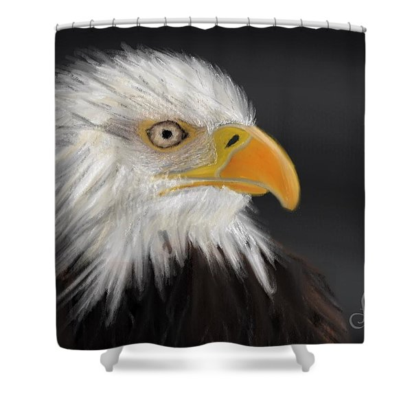 Shower Curtain featuring the pastel Bald Eagle by Fe Jones