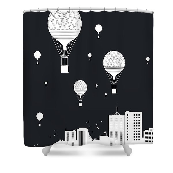 Balloons And The City Shower Curtain