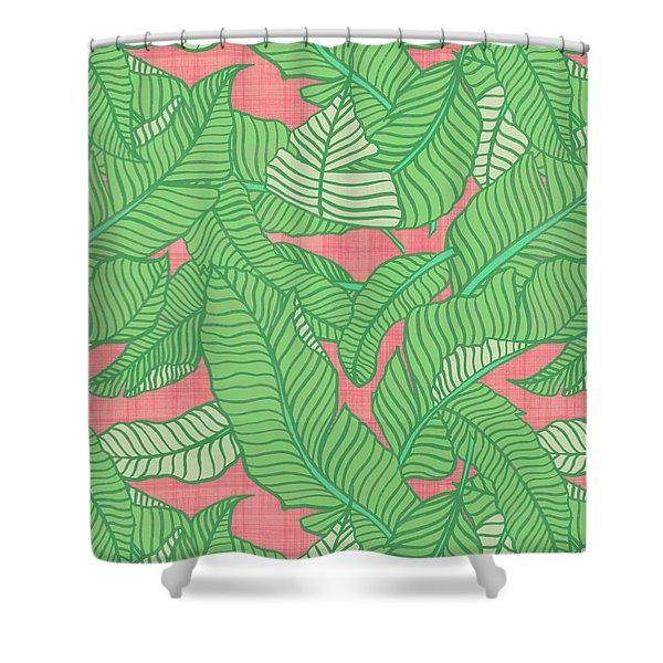 Banana Leaf Pattern Pink Shower Curtain
