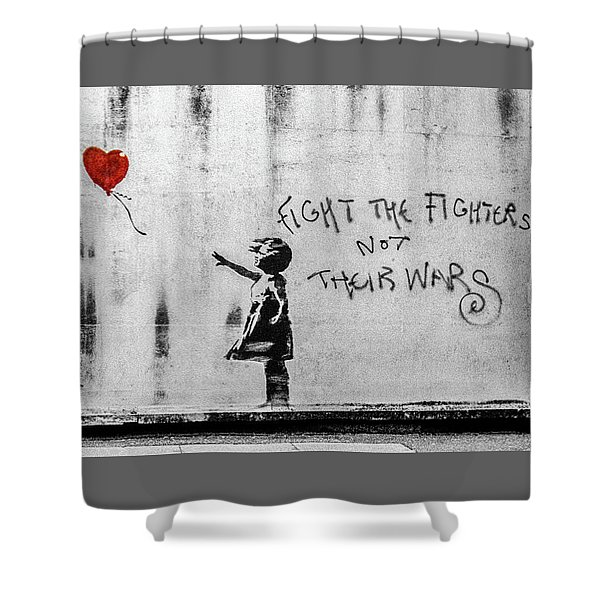 Banksy Balloon Girl Fight The Fighters Shower Curtain