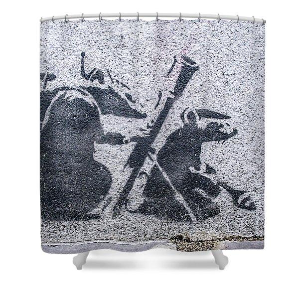 Banksy Bazooka Rats Shower Curtain