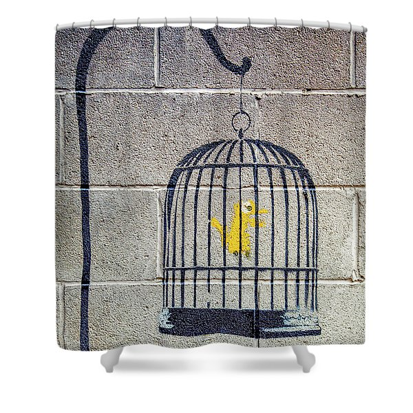 Banksy Bird Cage Detroit Shower Curtain
