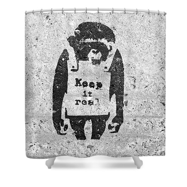 Banksy Chimp Keep It Real Shower Curtain