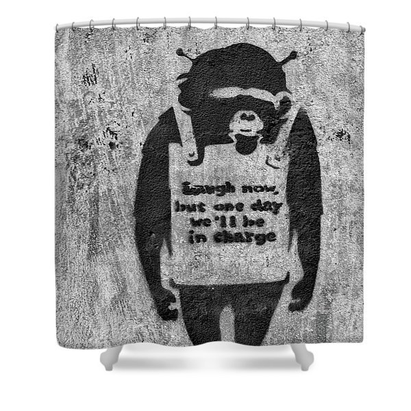 Banksy Chimp Laugh Now Graffiti Shower Curtain