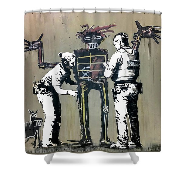Banksy Coppers Pat Down Shower Curtain