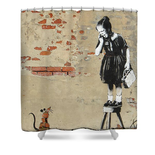 Banksy New Orleans Girl And Mouse Shower Curtain