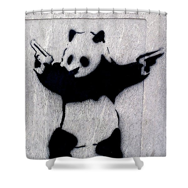 Banksy Panda Shower Curtain