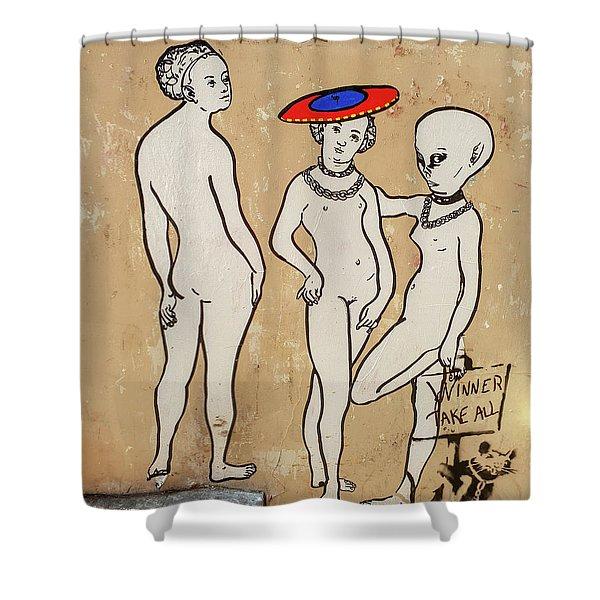 Banksy Paris Winner Take All Shower Curtain