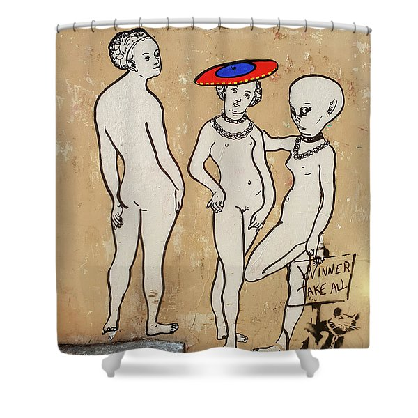 Banksy Paris Winner Take All Shower Curtain