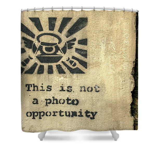 Banksy's This Is Not A Photo Opportunity Shower Curtain