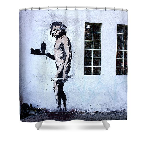 Bansky Fast Food Caveman Los Angeles Shower Curtain