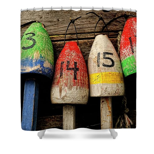Shower Curtain featuring the photograph Bar Harbor Bouys by Tom Gresham