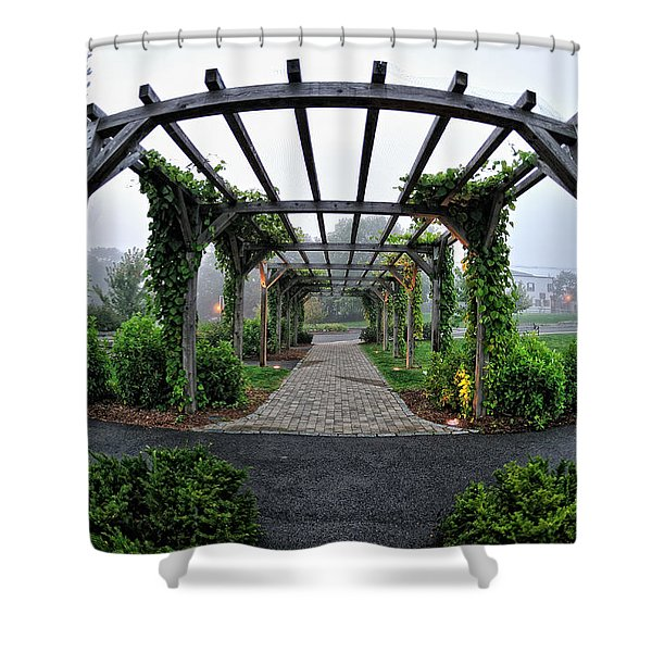 Shower Curtain featuring the photograph Bar Harbor Pergola by Tom Gresham
